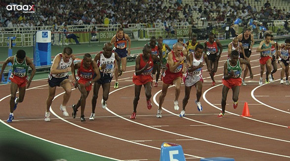 atheletes on track - in one of the famous events - olympic
